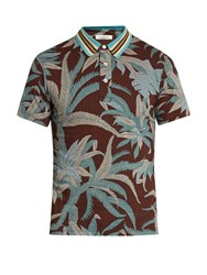 Valentino Tropical Print Cotton Jersey Polo Shirt Blue Multi
