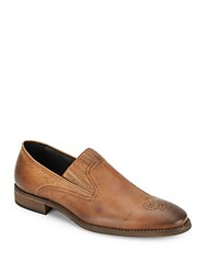 Bacco Bucci Cork Brogue Leather Slip On Shoes Tan