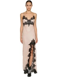 Redemption Polka Dot Satin And Lace Long Dress Array 0X59212d8