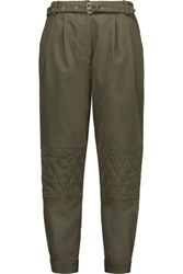 Belstaff Reilelly Stretch Cotton Twill Tapered Pants Army Green
