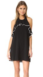 Alice Olivia Gwenie Halter Ruffle Dress Black White