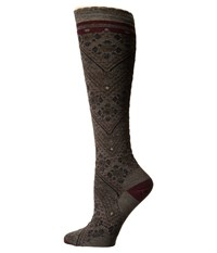 Smartwool Lingering Lace Knee Highs Taupe Heather Women's Knee High Socks Shoes