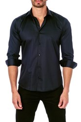 Unsimply Stitched Long Sleeve Satin Semi Fitted Woven Shirt Black
