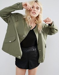 Parka London Siri Lightweight Collarless Cropped Jacket Khkai Green