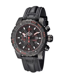 Gv2 48Mm Polpo Chronograph Stainless Steel Leather Watch Black