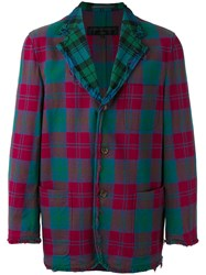 Comme Des Garcons Vintage Tartan Single Breasted Blazer Green