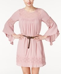 American Rag Lace Panel Belted Dress Only At Macy's Pale Mauve