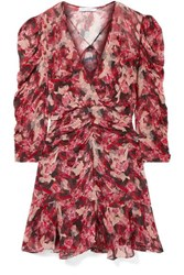 Iro Wick Wrap Effect Ruched Floral Print Crepon Mini Dress Red