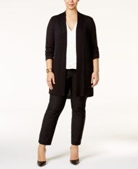 Alfani Plus Size Open Front Textured Cardigan Only At Macy's Deep Black