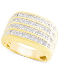 Macy's Men's Diamond Multi Row Cluster Ring 1 Ct. T.W. In 10K Gold Yellow Gold