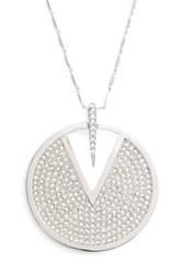 Vince Camuto Crystal Pave Disc Necklace Silver