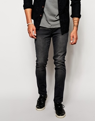 Asos Skinny Jeans With Leather Look Patch Detail Black