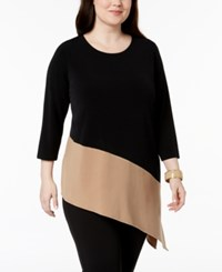 Alfani Plus Size Colorblocked Asymmetrical Hem Tunic Created For Macy's Sugared