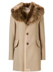 Marc Jacobs Single Breasted Leather Trim Coat With Fur Collar Lamb Skin Nylon Wool Bemberg Nude Neutrals