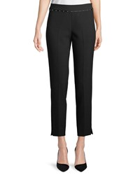 Emporio Armani Stretch Jersey Straight Leg Crop Pants W Beaded Ribbon Trim Black