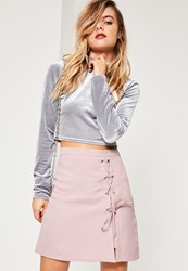Missguided Purple Textured Lace Up Side Eyelet Detail Mini Skirt