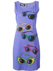 Jeremy Scott Sunglasses Print Fitted Dress Pink And Purple