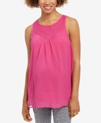 Wendy Bellissimo Maternity Embroidered Tank Top Fuchsia