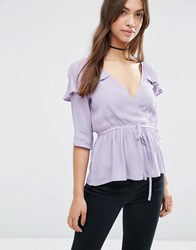 Asos Wrap Front Tea Blouse With Ruffle Lilac Purple