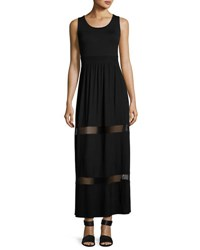 Neiman Marcus Mesh Inset Maxi Dress Black