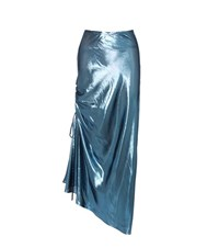 Ellery The Merry Widow Metallic Silk Blend Skirt Blue