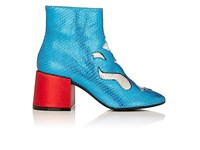 Maison Martin Margiela Mm6 Women's Mixed Leather Ankle Boots Blue