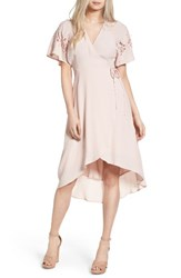 Astr Women's Crochet Sleeve Wrap Dress Pale Pink