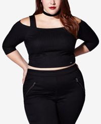 Mblm By Tess Holliday Trendy Plus Size Cold Shoulder Crop Top Black
