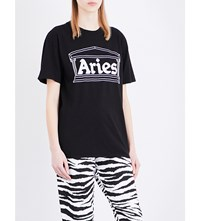 Aries Temple Cotton T Shirt Black