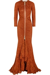 Givenchy Gown In Burnt Orange Floral Lace