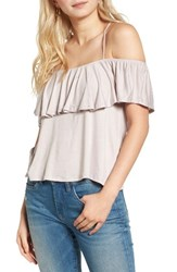 Lush Women's Ruffle Cold Shoulder Top Cloud Grey