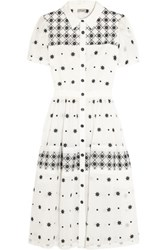 Temperley London Etta Mesh Paneled Embroidered Cotton Blend Maxi Dress Off White