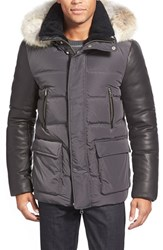 Men's Mackage Leather Sleeve Hooded Down Jacket With Genuine Coyote Fur And Genuine Shearling Trim