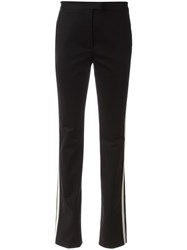 Red Valentino Striped Side Slim Fit Trousers Black