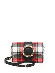 Miu Miu Jeweled Plaid Wool Crossbody Belt Bag Red Tartan