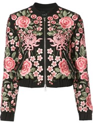 Needle And Thread Roses Embroidery Bomber Jacket Black