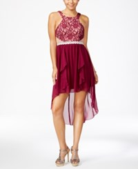 City Studios Juniors' High Low Lace Fit And Flare Dress Sparking Cherry