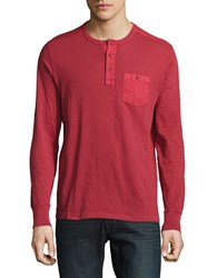 Lucky Brand Surf Long Sleeve Henley Shirt Biking Red
