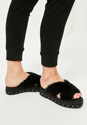 Missguided Black Faux Fur Cross Strap Studded Sliders