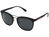 Prada Linea Rossa 0Ps 04Ss Black Rubber Grey Fashion Sunglasses