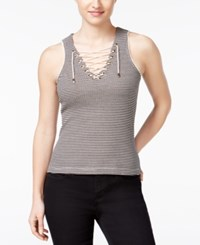 American Rag Striped Lace Up Tank Top Only At Macy's Black Combo