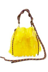 Dries Van Noten Rope Trimmed Pvc Embellished Tulle And Canvas Tote Yellow