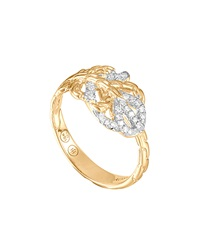 John Hardy Classic Chain Small Feather 18K Diamond Ring