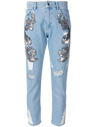 Marco Bologna Distressed And Embellished Cropped Jeans Blue