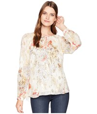Hale Bob Mighty Aphroodite Floral Lurex Silk Chiffon Pandora Top Ivory Clothing White