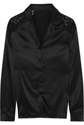 I.D. Sarrieri Macaroon Delights Chantilly Lace Paneled Silk Blend Satin Pajama Shirt Black