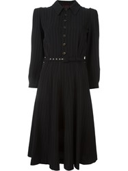 Jean Paul Gaultier Vintage Pinstriped Belted Dress Black