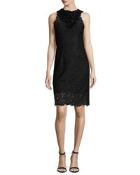 Elie Tahari Donna Sleeveless Jewel Neck Lace Sheath Dress Black