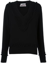 Barrie 'Romantic' V Neck Jumper Black