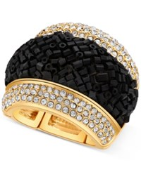 Guess Gold Tone Pave And Black Bead Stretch Ring